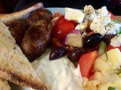 Having delicious Greek food for lunch at Kouzina in The Open Market.