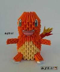 Charmander Pokemon Origami 3d (Samuel Sfa87) Tags: anime paper 3d origami arte sfa pokemon block papel pokmon carta artisan papercraft charmander arteempapel blockfolding origami3d sfaorigami sfa87 arteconlacarta