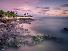Pacific Dawn Beauty (Laith Stevens Photography) Tags: ocean pink sea orange green beach water clouds sunrise landscape seaside rocks long exposure waves slow purple outdoor pastel ngc smooth olympus shore tropical f28 omd em1 1240mm olympusinspired