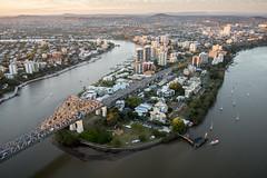 Kangaroo Point Brisbane (noldski2) Tags: city bridge water sunrise river panasonic story 14mm meriton epl7