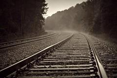 Checking a signal (builder24car) Tags: blackandwhite rain flickr steam explore railroadtracks selectivecolor csx chathamcounty sline seeingred railfanning flickrexplore moncurenorthcarolina