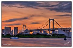 Rainbow Bridge (msankar4) Tags: beach japan tokyo footbridge artificial odaiba suspensionbridge tokyobay rainbowbridge pedestrianbridge cablestayedbridge telecomcenter
