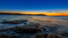 Bondi Beach (Edoardo Capriotti) Tags: ocean longexposure blue sunset red sea sky seascape beach bondi clouds sunrise landscape coast rocks waves sydney australia bondibeach