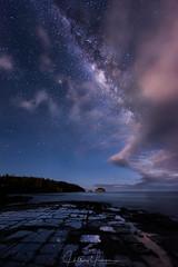 Stars and Stripes (hillsee) Tags: milkyway stars nightscape tessellatedpavement tasmania seascape clouds light ocean water
