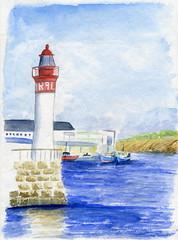 Au port (ybipbip) Tags: sea mer seascape watercolor painting paint aquarelle cost peinture watercolour acuarela phare pintura aquarela aquarell acquerello akvarell harbourg