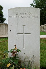 One of the many headstones (Richard Buckley) Tags: somme centenary picardy france battle war memorial poppies field corn scene view statue soldier basilica cross headstone grave greatwar worldwar1 caribou troops irish newfoundland australian shell artillery cemetery trench ceremony
