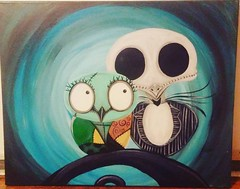 nightmare owls (summeralise) Tags: nmbc sally jack owl owls abstract colorful halloween timburton acrylic canvas art fun jackandsally nightmarebeforechristmas christmas nightmare