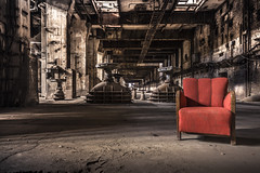 Sit back and wait for the robot invasion.. (marco18678) Tags: urbex urban exploring lost abandoned red chair industrial powerplant old decay decayed robot invasion nikon d750 tamron 1530 beautiful natural light photography technology eu ue world europe germany