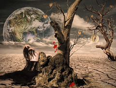 InSearchOfDirection (clabudak) Tags: surreal manipulation sadgirl compass trestump dead parched desert earth brokenheart