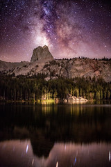 Galaxy over Lake George (Kevin Dinkel) Tags: galaxy dream aliens epic milkyway peaceful purple stars dinkel wonder lakes lake george awe dark clear trees reflection beautiful mammoth kevin travel pink photography mountain sky skyscape nightscape rockformation stargaze galacticcenter