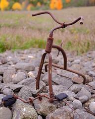 DSCF8713 (dltree76) Tags: old rusty forgotten discarded tricycle trike bicycle farm farming field rocks pile bike kids children