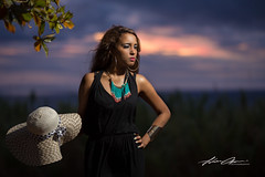 Metisse... (JohanChan) Tags: model sunset bluehour clouds amazing hat blackdress girl lady light