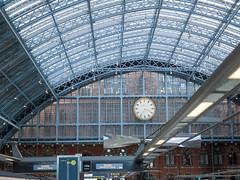 Eurostar (James E. Petts) Tags: eurostar interior stpancrasinternational clock london railway roof trainshed