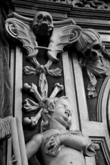 Cherub Death (nascentia) Tags: austria europe blackandwhite skull death domzusalzburg salzburgcathedral church cathedral cherub baby