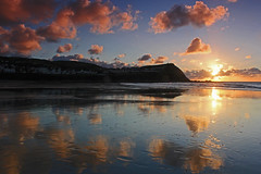 Reflections on Borth Beach (John Ibbotson (catching up!)) Tags: sunset sea sun wales coast seaside coastal ceredigion