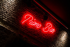 Bar, Lighted Logo (louisverplancken) Tags: light red white wall bar canon logo belgium piano minimal simplicity simple minimalistic minimalist namur lighted eos1100d