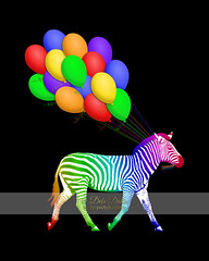 Rainbow Party Zebra - Now with Balloons! (Debi Dalio) Tags: graphicart balloons festive fun colorful digitalart zebra wildanimal partytime equine rainbowcolors stripedanimal