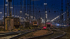 With my chin on the tracks... (Hamburg PORTography) Tags: longexposure night canon germany deutschland eos nightscape nacht hamburg tracks eisenbahn railway wires bahn gleise hdr oberleitung 6d langzeitbelichtung 2015 guessedhamburg canoneos6d hoonose68 guessedbyarneries againstautotagging sgrossien grossien