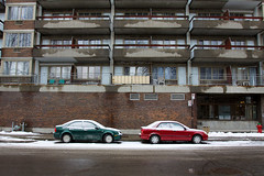 (Kvin Proust) Tags: street red snow canada green cars architecture canon montral montreal qubec usm qc 1740mm f4 50d