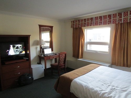 Jimbob's hotel room at Ptarmigan Inn in Hay River, NWT, Canada