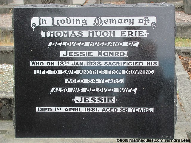 MONRO family plot including Thomas, drowned whilst saving someone else.