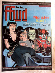 Video Vulture Party (Tom Bagley) Tags: canada calgary illustration ink cartoon frankenstein alberta pulp cleavage karloff turasatana tombagley fasterpussycat inframan sonoffrankenstein ffwdweekly videovulture johntebbutt ffwdcover