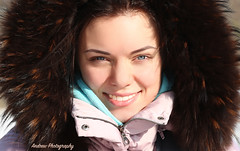 Nastya (Andrew Konstantinov) Tags: portrait woman sun white black girl beautiful beauty smile face lady canon photo amazing model eyes village shot wind russia coat teeth country great front lovely capture 6d