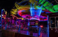 fairground ride. (andyp178) Tags: longexposure motion speed d50 lights movement ride fairground newport lighttrails colourful spytty