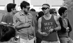 Hey! (Rob Sneed) Tags: beer sunglasses tattoo nikon texas cigarette streetphotography conversation denton unt universityofnorthtexas jazzfestival northtexas dentonartsandjazzfestival d700 dentonartsfestival quakertownpark