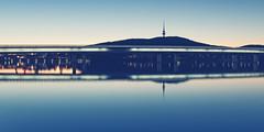 The Commonwealth Bridge over Lake Burley Griffin ('Whitewithone) Tags: bridge sunset mountain lake reflection water au australia canberra blackmountain act telstratower australiancapitalterritory lakeburleygriffin commonwealthbridge canonef1635mmf4lisusm canoneos6d whitewithonenet
