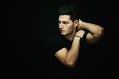 Carmine (francesco ercolano) Tags: man face arms dark emotive male lips light black low key portrait beauty