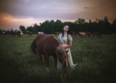 Whisper. 332/365 (aleah michele) Tags: whisper wind breeze blow gust gentle distant mutter horse horses herd brownhorse field princess dress vintagedress trees nature storm sunset sunrise aleahmichele aleahmichelephotography adventure 365 365project emotion emotional empty explore evening emotive sleep sleepy portrait peaceful girlandherhorse girlandhorse conceptual conceptualportrait concept calm color christian