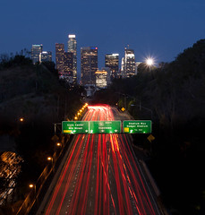 Downtown LA (Foto-Mike) Tags: longexposure skyline architecture night sunrise canon eos la los cityscape angeles head tripod 110 parkway freeway downtownla dslr arroyo manfrotto 50d 055xprob 808rc4