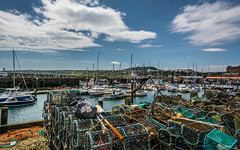 Scarbrough Harbour (johngregory250666) Tags: scarborough harbour yorkshire boats sea east coast england uk lobster pots blue sky clouds nikon camera lens d5200 outside outdoors july walk walking hiking cleavland way footpath coastal imagesofengland