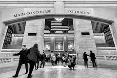 Grand Central Terminal 1 (Jakub Slovacek) Tags: city nyc travel people urban blackandwhite usa newyork station architecture us unitedstates manhattan flag landmark terminal midtown transportation gct grandcentralterminal
