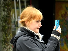 Red Hair Blue IDumb (knightbefore_99) Tags: vancouver bc eastvan candid commercialdrive 2016 party june car free day italian italy cell mobile sad dumb pathetic red hair