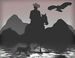 The Road Home... (rubyblossom.) Tags: horse dog man rocks ride eagle silhouettes mmm challenge 83rd 2016 rubyblossom rubystreasures
