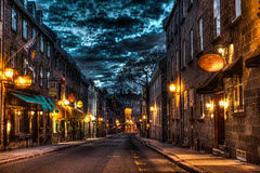Vieux-Qubec at dawn /   l'aube (BLEUnord) Tags: qubec vieuxqubec oldquebec hdr matin morning aube dawn ciel sky dramatic dramatique highdynamicrange rue street clairage lighting
