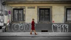 [ Star walks - Star walks ] DSC_0889.3.jinkoll (jinkoll) Tags: girl red step walk walking passing passingby star signs platform street woman windows wien austria graffiti wall alone coat