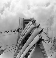 TAPER (Dinasty_Oomae) Tags:   agfa isolette isoletteiii   monochrome blackandwhite blackwhite bw outdoor kanagawa    yokohama nipponmaru   fullsail sailingship