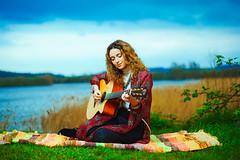 Bud - Singer / Songwriter (David 'dwyz' Wayman) Tags: guitar singer nature girl portrait curly hair dusk
