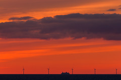 Off Shore (explored) (Markus Trienke) Tags: sommer urlaub balticsea offshore sunset clouds ship stenaline red evening sea windmill powerplant wind energy turbine sky seascape canon eos 70d dusk windfarm farm