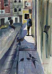 2016 08 09 ist street (lilya_de) Tags: mixedmedia watercolour watercolor aquarelle coloredpencils painting fabriano softpress istanbul street birds pigeons