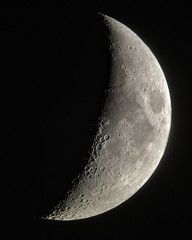 Moon, August 8, 2016 (FailedProtostar) Tags: moon crescent telescope iphone astronomy astrophotography