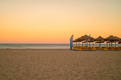 Sunset Beach (John Fenner) Tags: nikon d750 nikkor 50mm f18 afd prime beach sea sunset sunbeds shingle sand roquestas de mar almeria spain 10 stop