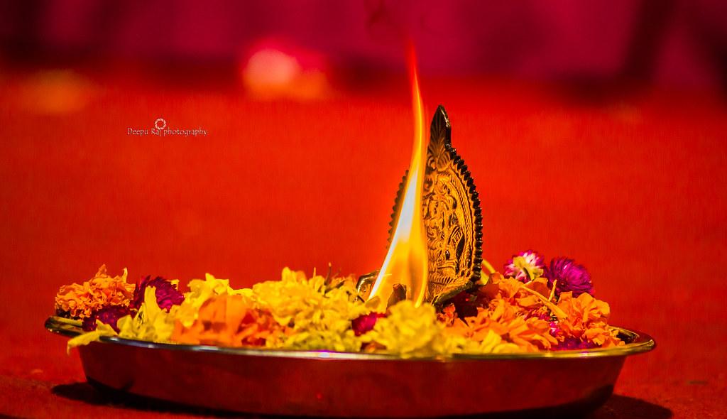 Raj) Tags: Light Lamp God Flowers Deepam