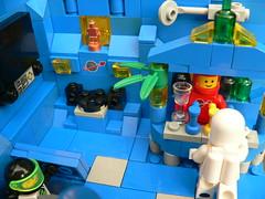 Accidental intruder at the Classic Space Lego bar (kosmonautikos) Tags: lego classic space minifig minifigure bar drinking astronaut cosmonaut moc pub