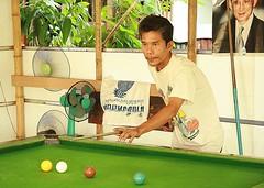 the king in the billiard's parlor (the foreign photographer - ) Tags: man preparing shot billiards parlor khlong thanon bangkhen bangkok thailand canon kiss 400d