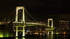 The Rainbow Bridge (elenaleong) Tags: rainbowbridge tokyo nightscape waterfrontskyline oceanfront elenaleong bridge shibaura pier minato illumination  suspensionbridge