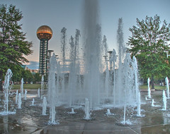Court of Flags Fountains (Cocoabiscuit) Tags: cocoabiscuit olympus em5 knoxville tennessee worldsfair fountains